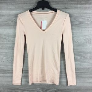 J Crew Pink Perfect Fit Long Sleeve V Neck